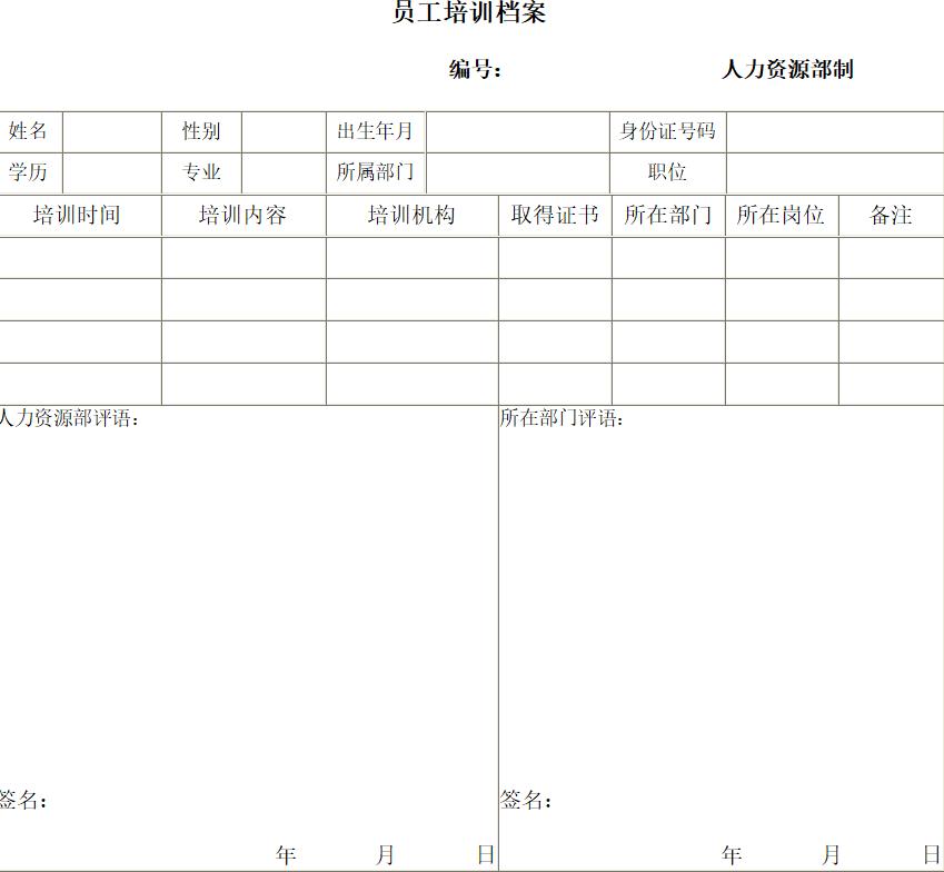 员工档案资料_员工档案表格模板免费下载
