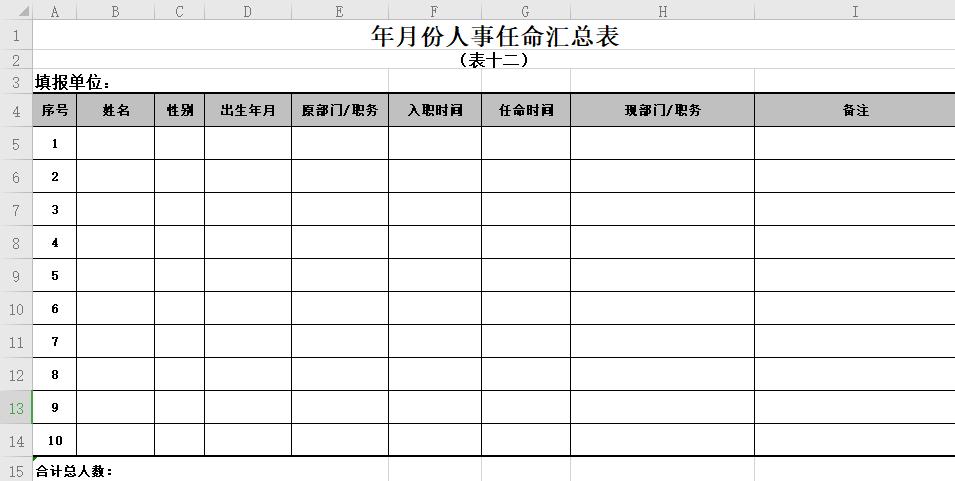 人事月报表(共16个表格,超齐全)免费下载
